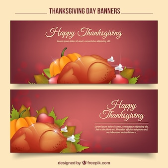 Happy thanksgiving day with realistic banners