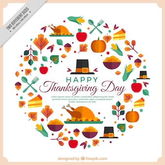 Happy thanksgiving with geometric elements