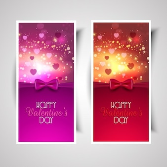 Happy valentine day pink and red bow banners