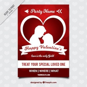 Happy valentine's brochure with couple silhouette