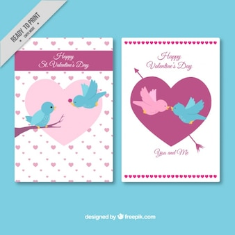 Happy valentine's cards with cute birds