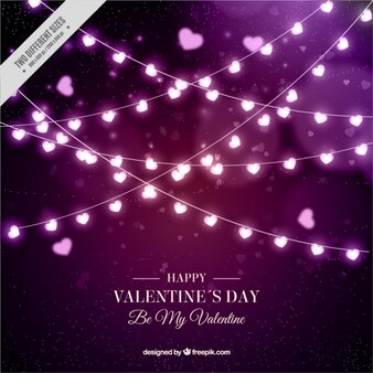 Happy valentine's day background of light bulbs with heart-shaped