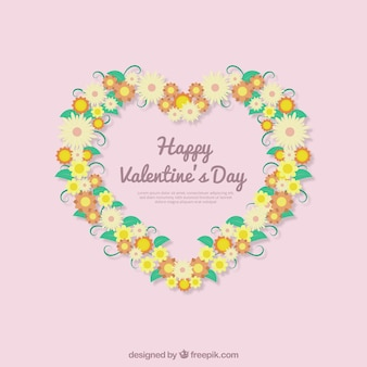 Happy valentine's day background with heart floral wreath
