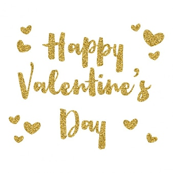 Happy Valentines Day background with gold glitter text