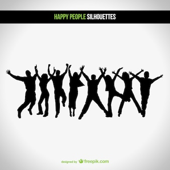 Happy vector silhouettes