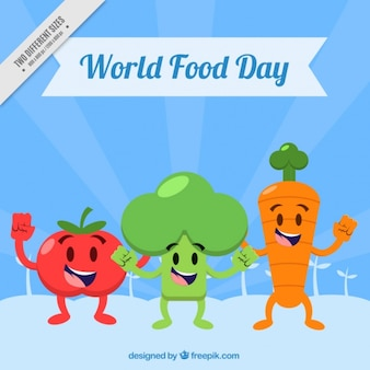 Happy vegetables in world food day