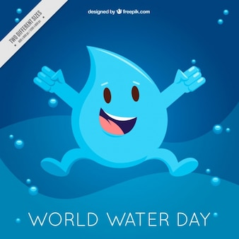 Happy water world day drop background