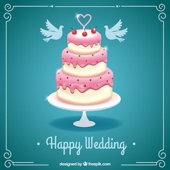 Happy wedding card with a cake