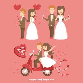 幸せな結婚式のカップル