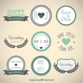 Happy wedding labels in vintage style