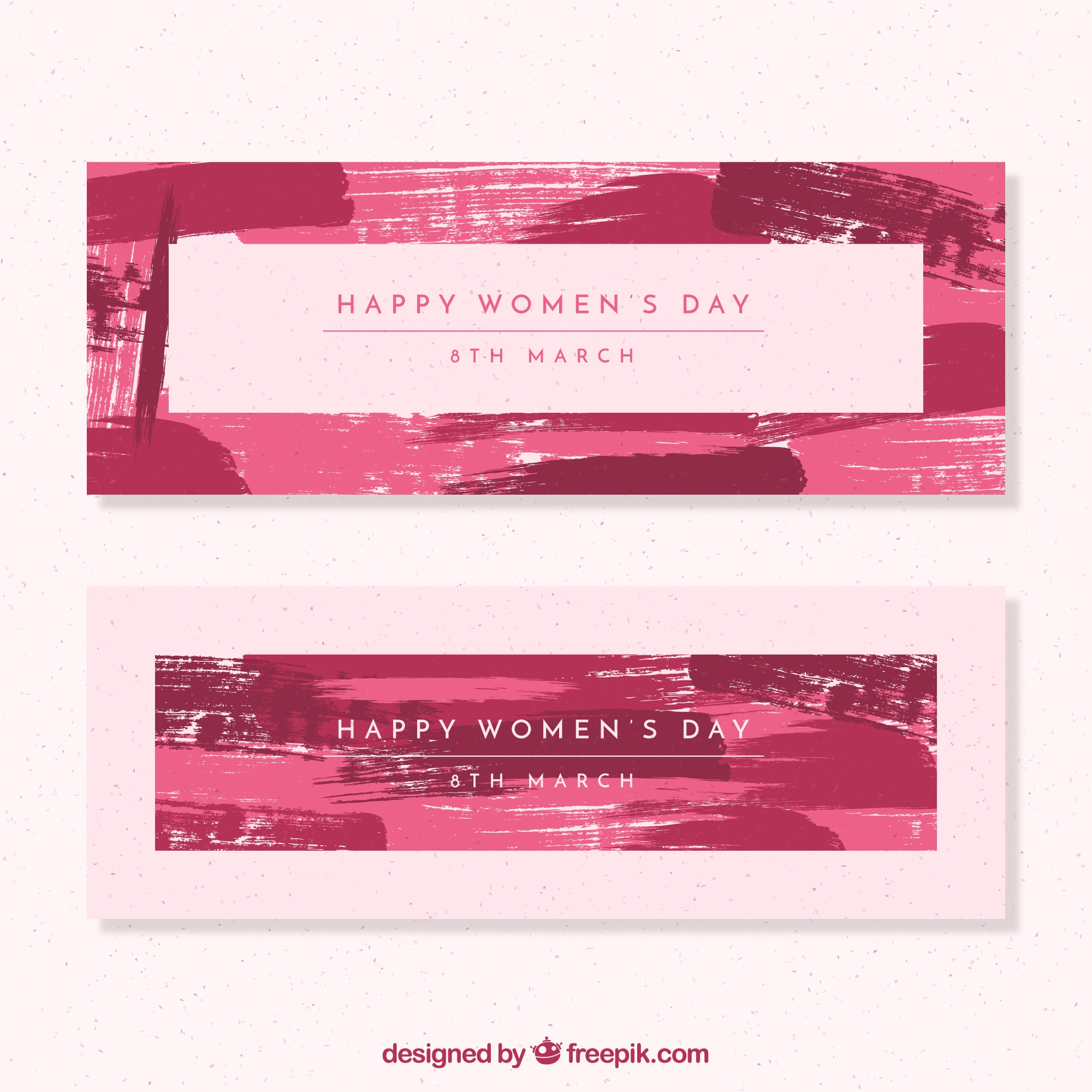 Happy woman's day banners with brush strokes