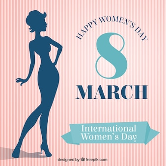 Happy women's day card with a female silhouette