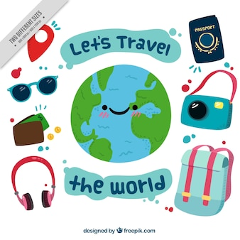 Happy world background with travel elements