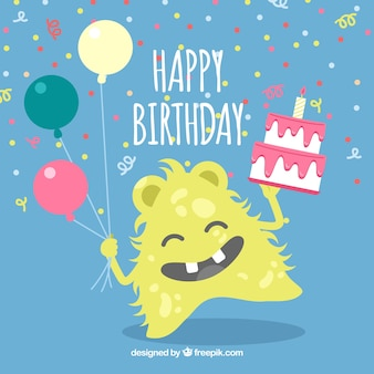 Happy yellow monster background with birthday cake