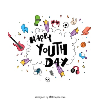 Happy youth day sketches background