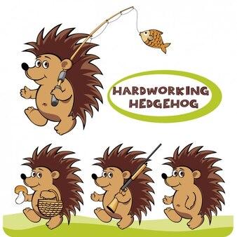Hardworking hedgehog illustration