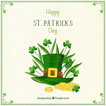 Hat background with clovers and coins of saint patrick's day