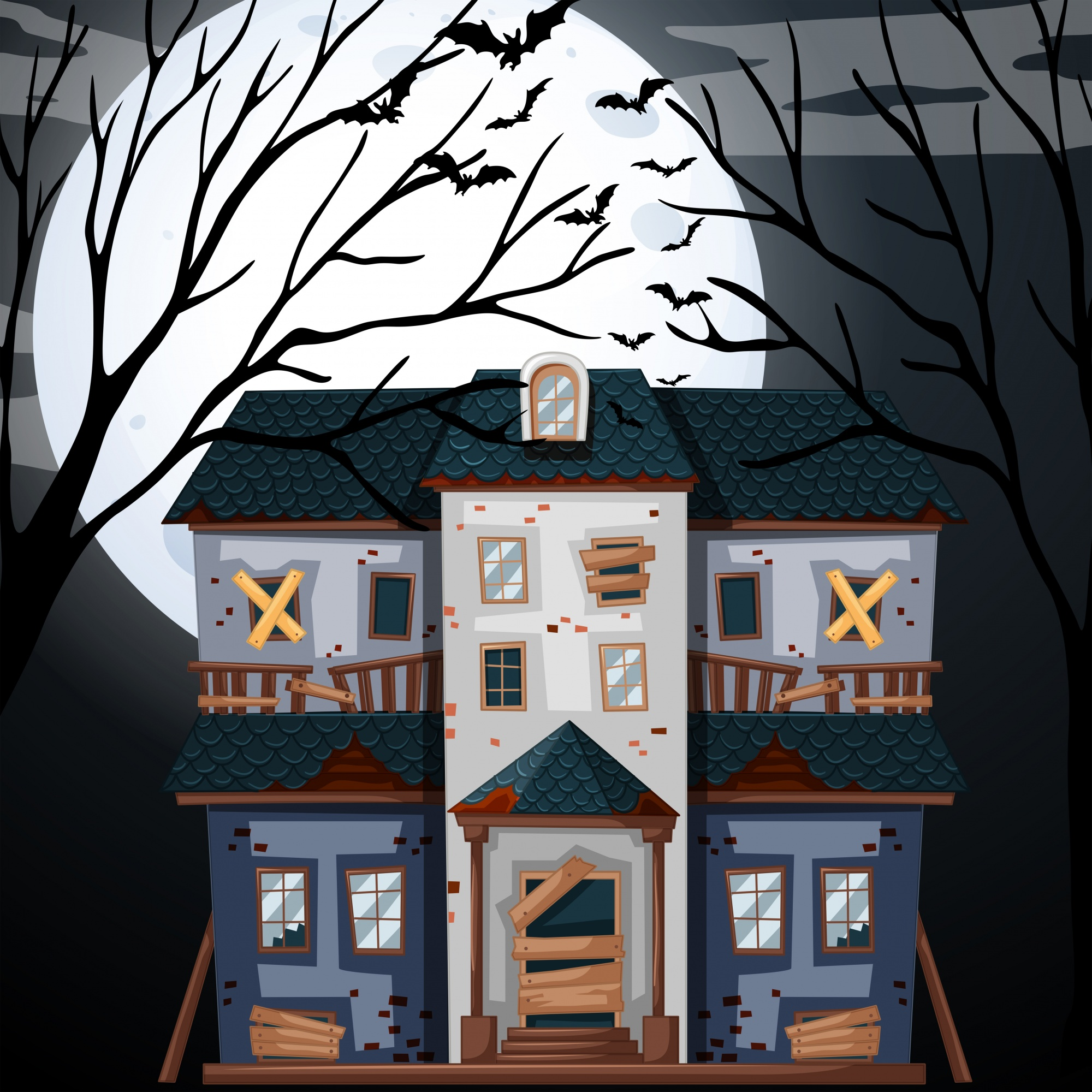 Haunted house on fullmoon night