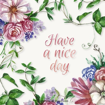 Have a nice day background with watercolor flowers