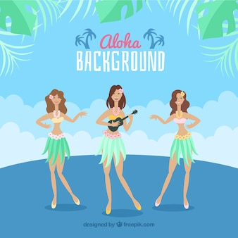 Hawaian dancers aloha background