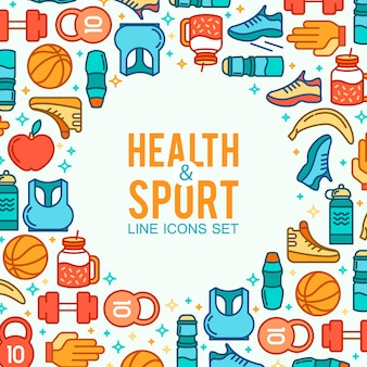 Health and sport elements frame