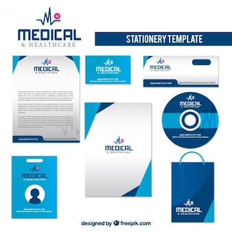 Healthcare stationery in blue color