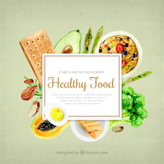 Healthy food in watercolor style