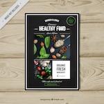 Healthy food retro brochure