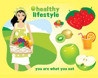 Healthy lifestyle fruit vector
