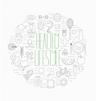 Healthy lifestyle symbols set