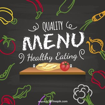 Healthy menu blackboard