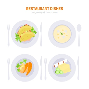 Healthy restaurant food set