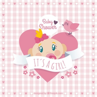 Heart baby shower card