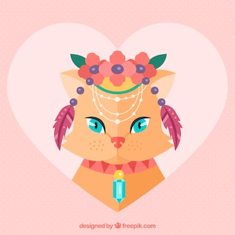 Heart background of cat with boho elements