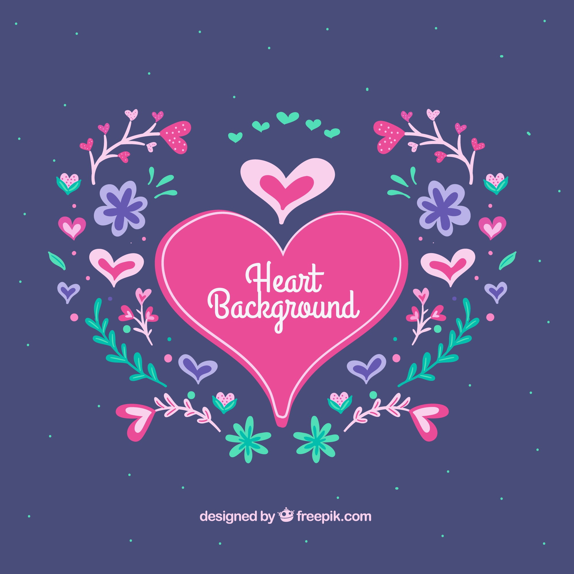 Heart background with flowers