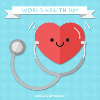 Heart background with stethoscope