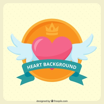 Heart background with wings