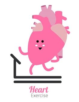 Heart charactor vector design fitness for smart heart with running