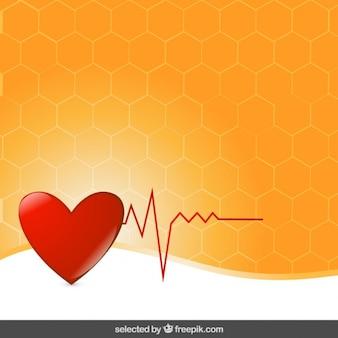 Heart electrocardiogram on orange background