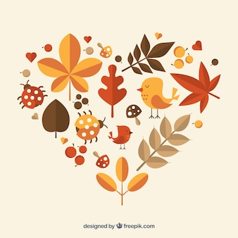 Heart made of autumnal nature