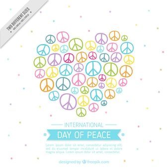heart made of peace symbols cute background