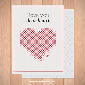 Heart made up of cross stitch card