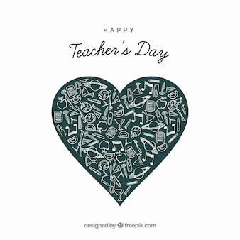 Heart out of blackboard for the teacher's day