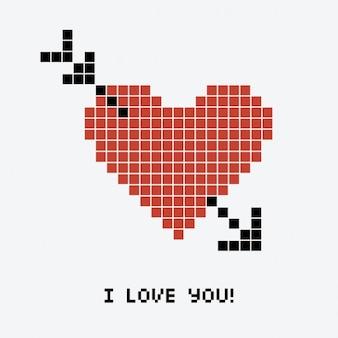 Heart pixelated with an arrow