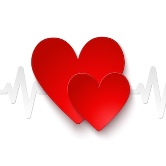 Heart rate red paper emblem icon or print vector illustration