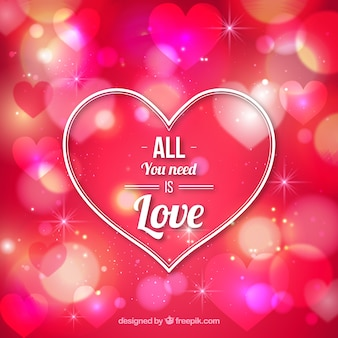 Heart san valentine on a bokeh pink background