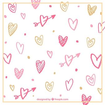 Heart scribble background