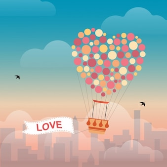 Heart Shape Hot Air Balloon Background