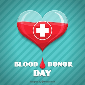 Heart striped background for blood donor day