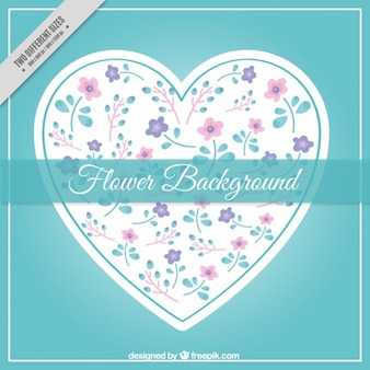 Heart with hand drawn flowers background